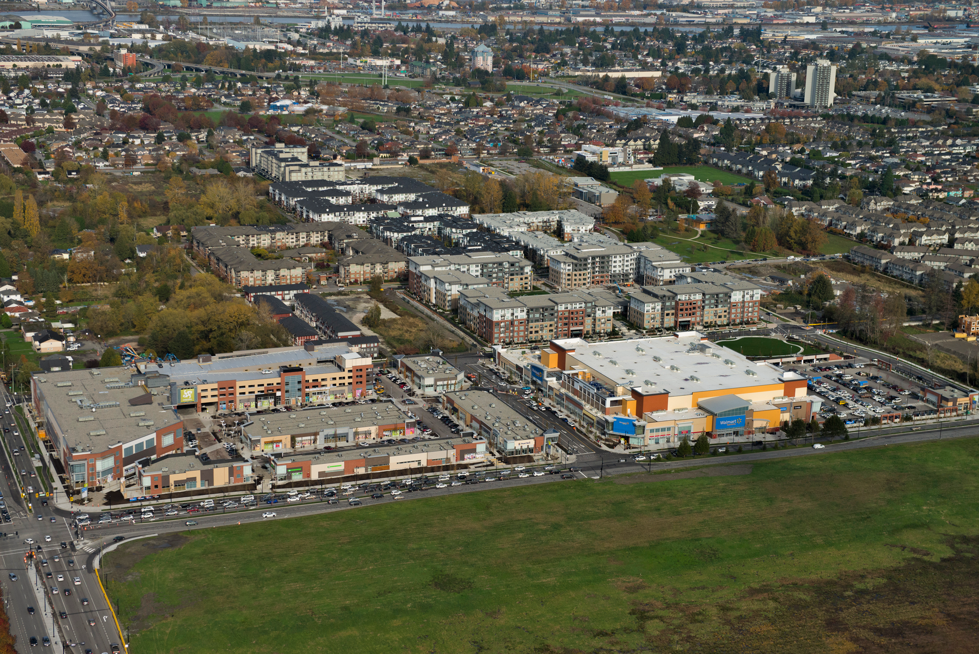 Background aerial photo of SmartCentres Richmond N/Central at Garden City