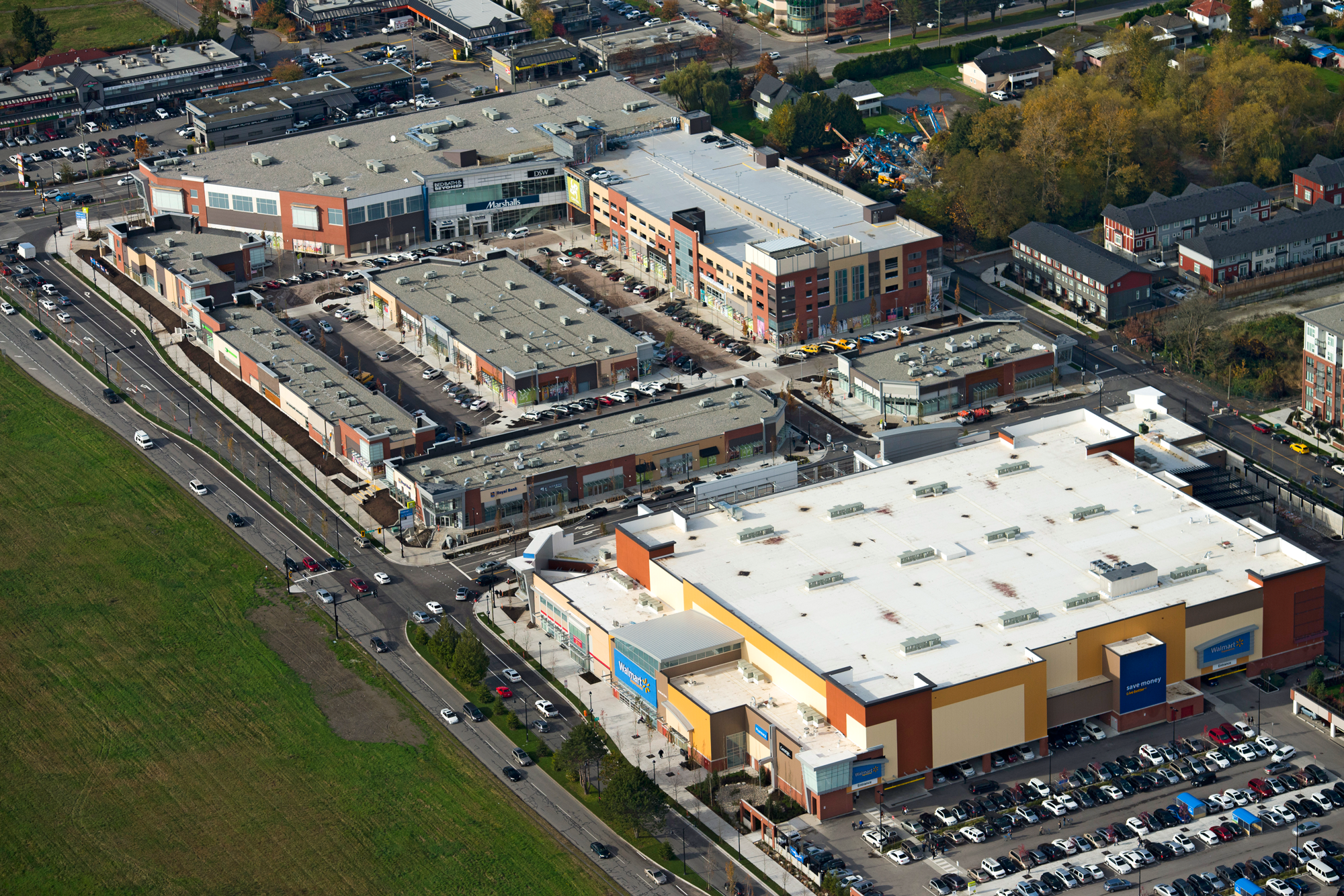 Aerial photo of SmartCentres Richmond - view facing Northwest corner